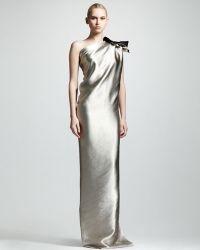 Lanvin Oneshoulder Duchess Satin Column Gown gray - Lyst