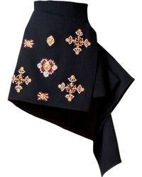 Fausto Puglisi Edinburgh Embroidered Wool Crepe Skirt - Lyst
