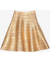 Hervé Léger Gold Foil Bandage Flare Skirt - Lyst