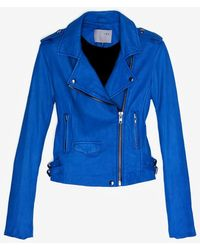 IRO Exclusive Ashville Leather Jacket Blue - Lyst
