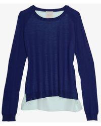 Mason by Michelle Mason Mason Silk Georgette Panel Back Sweater - Lyst