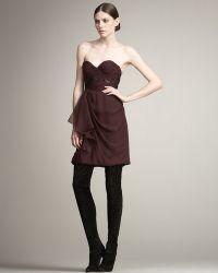 J. Mendel Organza Ruffle Strapless Dress - Lyst