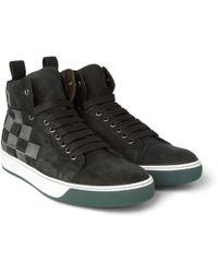 Lanvin Woven Nubuck High Top Sneakers - Lyst
