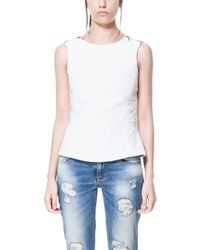 Zara Jacquard Top with Zips On The Shoulder - Lyst