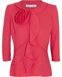 Oscar de la Renta Stretch wool Jersey Jacket - Lyst