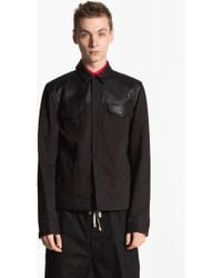 T By Alexander Wang Cotton Leather Bomber Jacket - Lyst