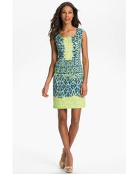 Adrianna Papell Ikat Print Sheath Dress - Lyst
