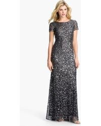 Adrianna Papell Short Sleeve Sequin Mesh Gown - Lyst