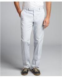 Armani Grey Stretch Cotton Flat Front Pants - Lyst