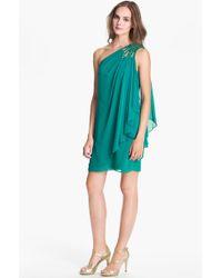 Js Boutique Embellished One Shoulder Chiffon Dress - Lyst