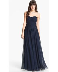 JS Boutique Strapless Ruched Chiffon Gown - Lyst