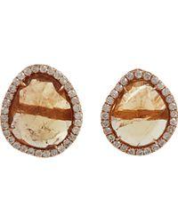 Monique Pean Atelier - Yellow Tourmaline Slice Diamond Stud Earrings - Lyst