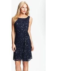 Pisarro Nights Sequin & Bead Gathered Mesh Dress - Lyst