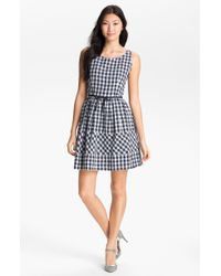 Taylor Dresses Gingham Fit Flare Dress blue - Lyst