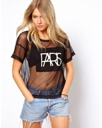 Asos T-shirt in Mesh with Paris Print - Lyst