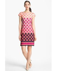 Eliza J Print Cap Sleeve Jersey Shift Dress - Lyst