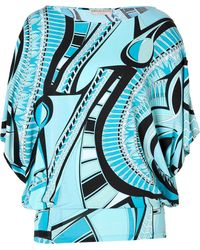 Emilio Pucci Printed Top in Turquoise - Lyst