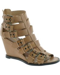 KG by Kurt Geiger - Kg Mandy Tan Leather Buckled Wedges - Lyst