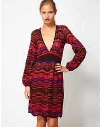 M Missoni Long Sleeved Knitted Midi Dress - Lyst