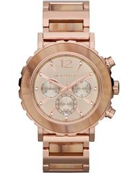 Michael Kors Oversize Rose Golden Stainless Steel Lillie Chronograph Glitz Watch - Lyst
