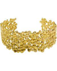 Natasha Collis - 18K Dripped Gold Cuff With White Diamonds - Lyst
