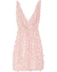 Oscar de la Renta Applique Silk-organza Dress - Lyst