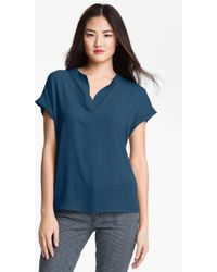 Pleione Split Neck Mix Media Blouse - Lyst