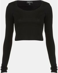 Topshop Long Sleeve Crop Tee - Lyst