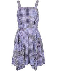 Topshop Gingham Witch Hem Flippy Dress purple - Lyst