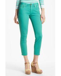 Tory Burch Skinny Crop Stretch Jeans Viridian Green - Lyst
