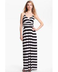 Vince Camuto Stripe Halter Maxi Dress - Lyst