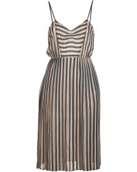 Giada Forte Pleated Skirt Stripe Dress - Lyst