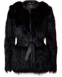 Roberto Cavalli Silver Fox Fur Belted Jacket With Leather Trim - Lyst