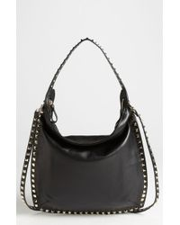 Valentino Rockstud Small Leather Hobo - Lyst