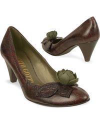 Alberto Gozzi - Dark Brown Flower Crocoembossed Pump Shoes - Lyst