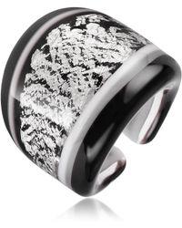 Antica Murrina - Cuba Black and White Murano Glass Ring - Lyst