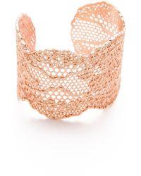Aurelie Bidermann Laser Cut Vintage Lace Cuff - Rose Gold - Lyst