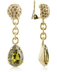 AZ Collection - Green Clip-on Drop Earrings - Lyst