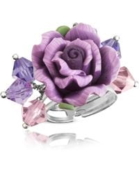 Dolci Gioie - Sterling Silver Purple Rose Ring - Lyst