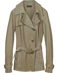 FORZIERI - Beige Leather Trench Coat - Lyst