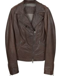 Forzieri Brown Leather Motorcycle Jacket - Lyst