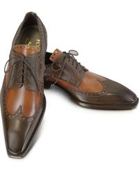 FORZIERI - Two-tone Italian Handcrafted Leather Wingtip Oxford Shoes - Lyst