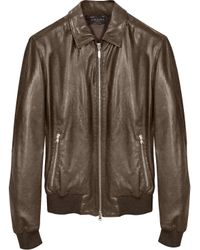Forzieri Dark Brown Leather Bomber Jacket - Lyst