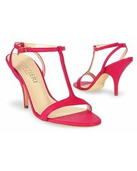 FORZIERI - Magenta Calf Leather T-strap Evening Sandal Shoes - Lyst