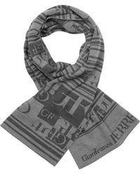 Gianfranco Ferré - Striped Logo Wool Scarf - Lyst