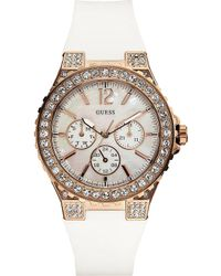 Guess Stainless Steel Stoneset Watch Mother Of Pearl - Lyst