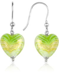House of Murano - Mare - Lime Murano Glass Heart Drop Earrings - Lyst