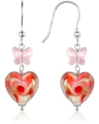 House of Murano - Vortice - Pink Swirling Murano Glass Heart Earrings - Lyst