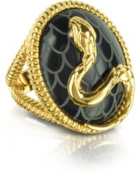 Just Cavalli - Amazonia Gold Plated and Onyx Ring - Lyst