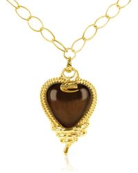 Just Cavalli - Snake - Heart Pendant Gold Plated Chain Necklace - Lyst